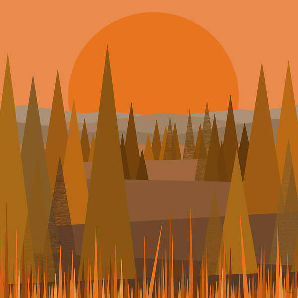 Digital Art - Fall Sunset by Val Arie