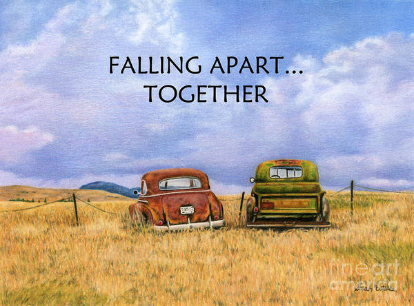 Two Friends Wall Art - Painting - Falling Apart Together by Sarah Batalka