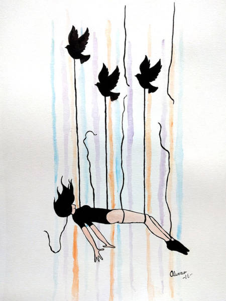 High Jump Painting - Falling by Edwin Alverio