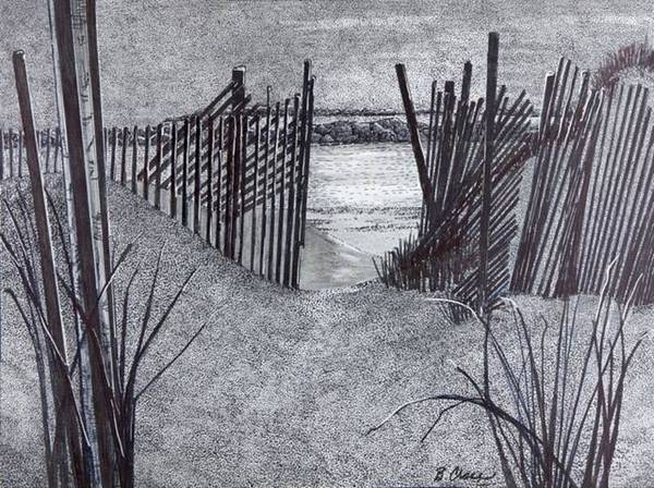 Drawing - Falling Fence by Betsy Carlson Cross