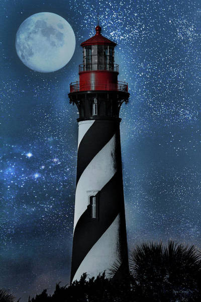 Moon Shine Wall Art - Photograph - Falling For You St Augustine Lighthouse by Betsy Knapp