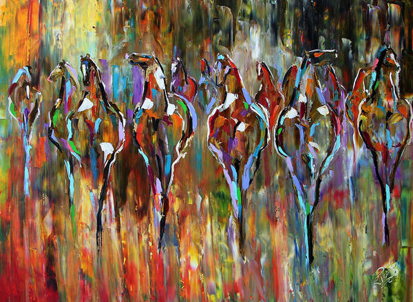 Dressage Painting - Falling Into Winter Herd by Laurie Pace