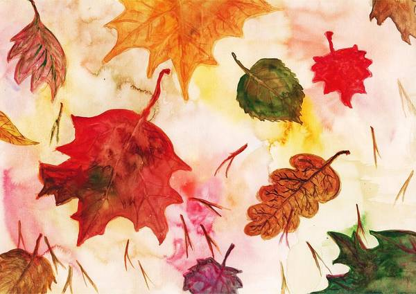 Painting - Falling Maple Leaves by Autumn Scenes