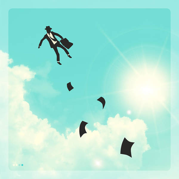 Blue Sky Wall Art - Digital Art - Falling Up by Jazzberry Blue