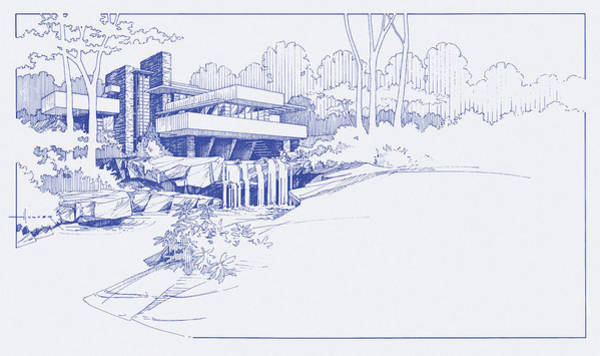 Retro Drawing - Fallingwater Blueprint by Larry Hunter