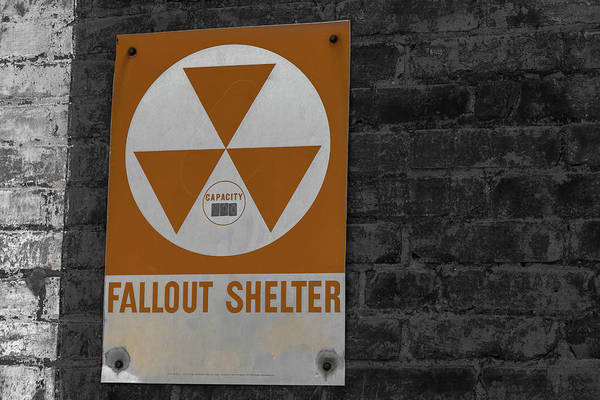 Photograph - Fallout Shelter Sign In Selective Color 2 by Doug Camara
