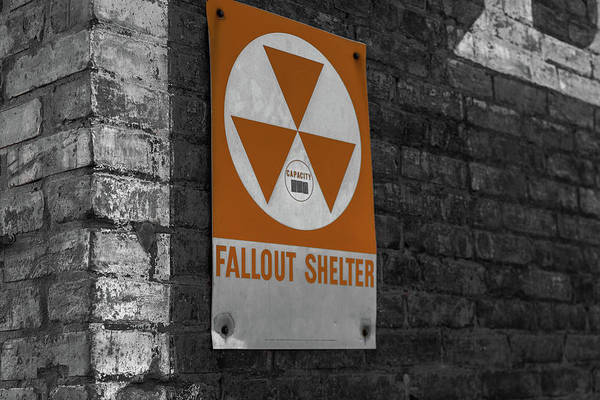Photograph - Fallout Shelter Sign In Selective Color by Doug Camara