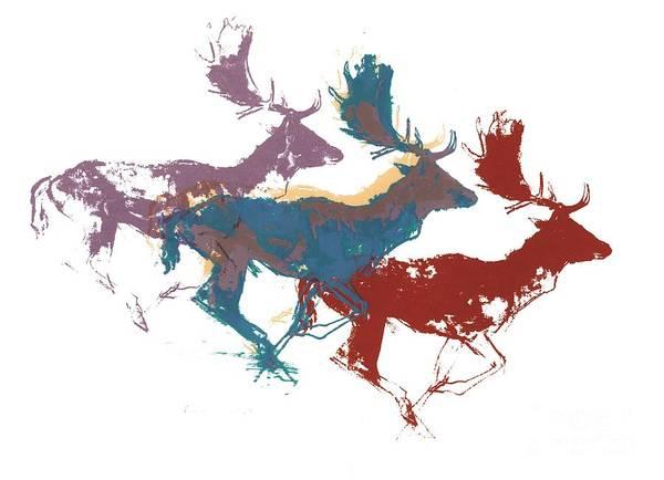 Winter Holidays Painting - Fallow Bucks by Mark Adlington