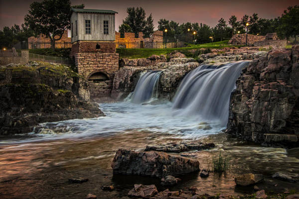 Photograph - Falls Park Waterfalls At Dusk In Sioux Falls by Randall Nyhof