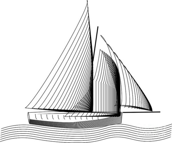 Drawing - Falmouth Oyster Boat by Brian Roscorla