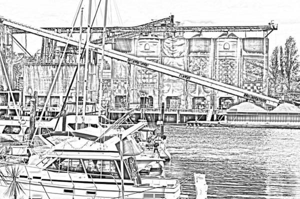 Vancouver City Digital Art - False Creek And Grenville Island Sketch by Bob Corson