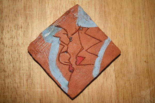 Ceramic Art - Family 2 - Tile by Gloria Ssali