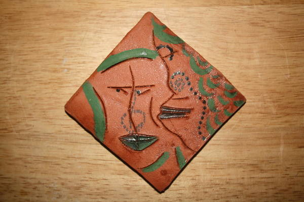 Ceramic Art - Family 3 - Tile by Gloria Ssali