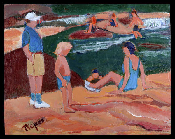 Oak Creek Canyon Painting - Family At Slide Rock Park by Betty Pieper