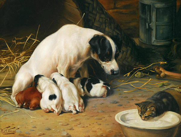 Fox Terrier Wall Art - Painting - Family Cares by William Henry Hamilton Trood