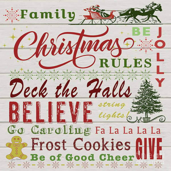Wall Art - Digital Art - Family Christmas Rules-a by Jean Plout