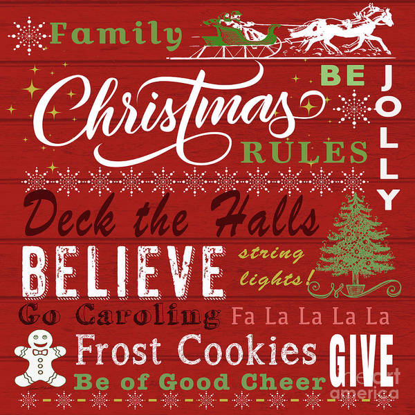 Wall Art - Digital Art - Family Christmas Rules-b by Jean Plout