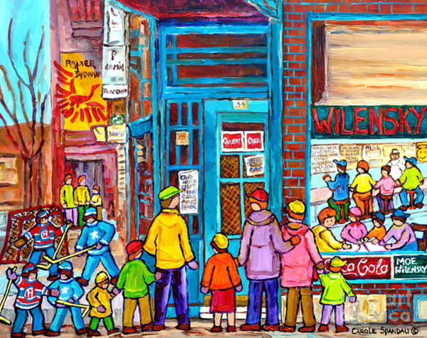 Painting - Family Day At Wilensky Lunch Counter Montreal Street Hockey Winter Scene Carole Spandau by Carole Spandau