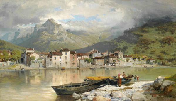 Lake Como Painting - Family Fisherman In Lecco On Lake Como by Ercole Calvi