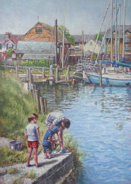 Painting - Family Fishing At Eling Tide Mill Hampshire by Martin Davey