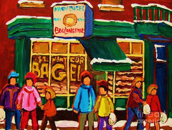 Painting - Family  Fun At St. Viateur Bagel by Carole Spandau