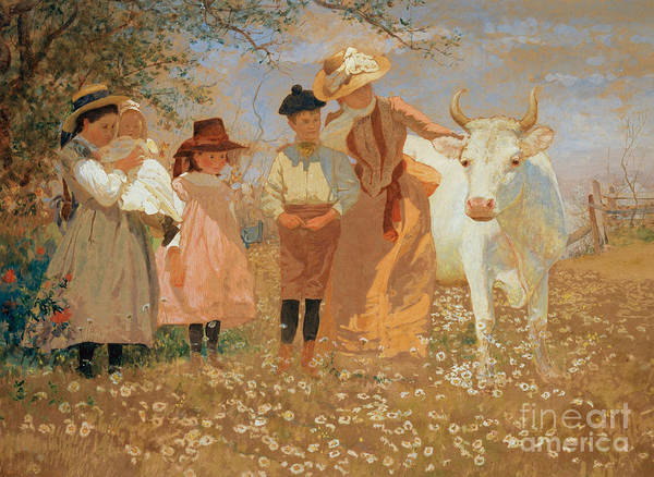 Family Farm Painting - Family Group With Cow by Louis Comfort Tiffany