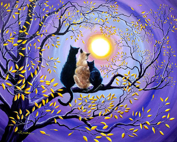 Siamese Cat Painting - Family Moon Gazing Night by Laura Iverson