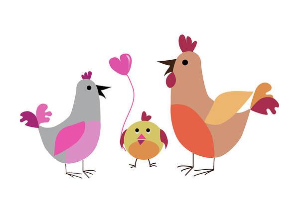 Digital Art - Family Of Hens by Marina Usmanskaya