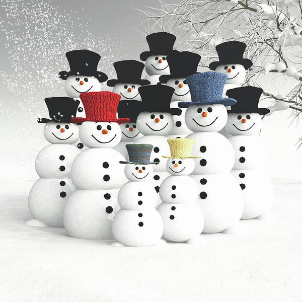 Digital Art - Family Of Snowmen by Jan Keteleer