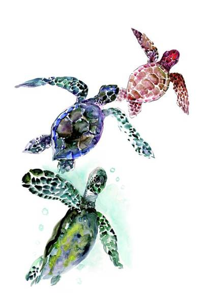 Wall Art - Painting - Family Of Turtles, Turtle Children Room Artwork by Suren Nersisyan