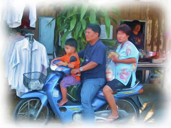 Family On Bike Art Print