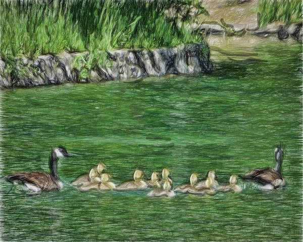 Parenthood Digital Art - Family Outing by Leslie Montgomery