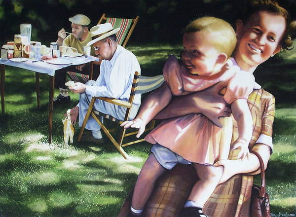 Wall Art - Painting - Family Picnic 1953 by Denny Bond