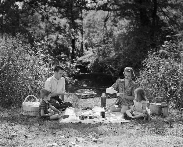 Photograph - Family Picnic, C.1940s by H Armstrong Roberts and ClassicStock