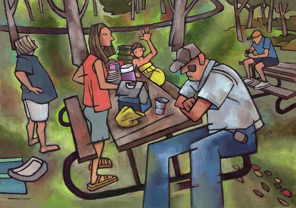 Nebraska Painting - Family Picnic by Douglas Simonson
