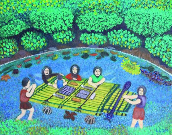 Painting - Family Picnic In Palau by Lorna Maza