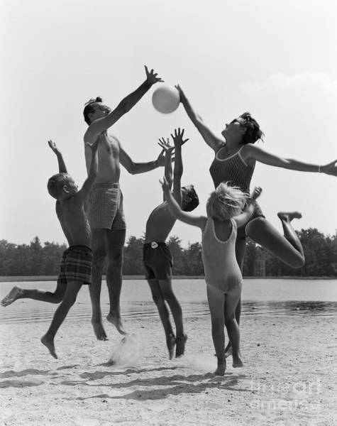 Fathers Day Photograph - Family Playing Beach Volleyball, C.1960s by H. Armstrong Roberts/ClassicStock