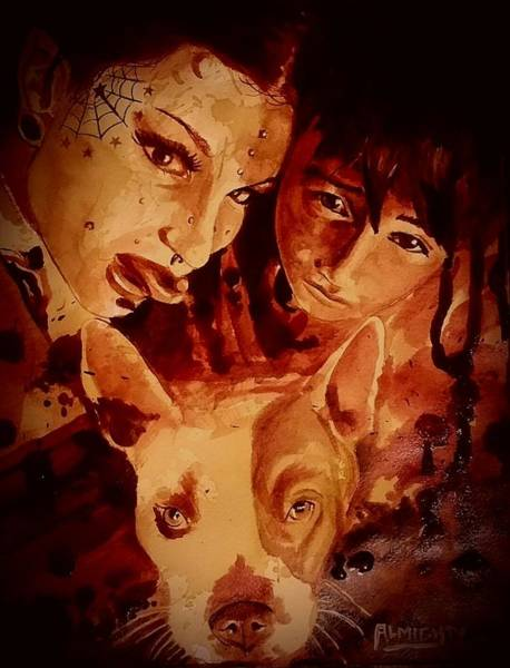 Serial Killer Painting - Family Portrait Fresh Blood by Ryan Almighty