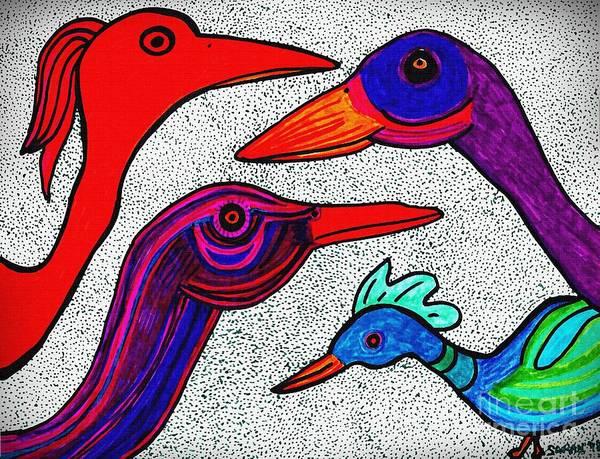 Aqua Drawing - Family Portrait by Sarah Loft