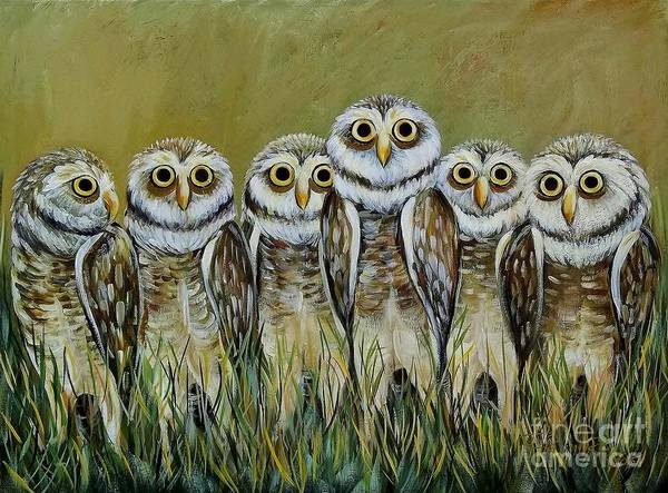Burrowing Owl Painting - Family by Renee Hilimire