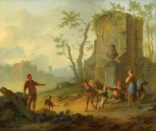 Paula Wall Art - Painting - Family Resting By The Ruins  by Franz de Paula
