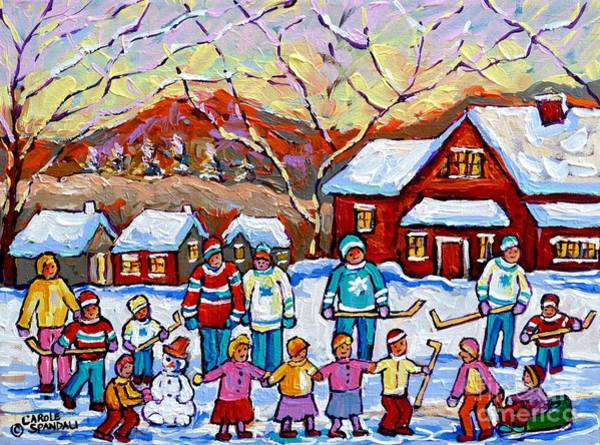 Painting - Family Skating Party Paintings Of Children Playing Canadian Country Winter Scene  Art Carole Spandau by Carole Spandau