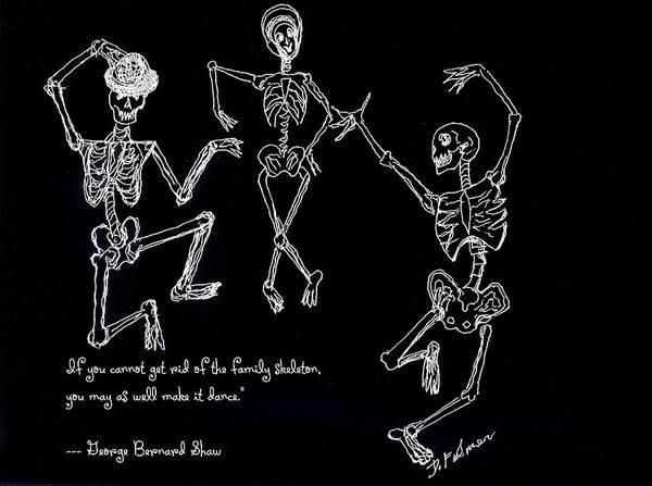 Drawing - Family Skeleton by Denise F Fulmer