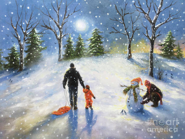 Wall Art - Painting - Family Snow Sledding With Son by Vickie Wade
