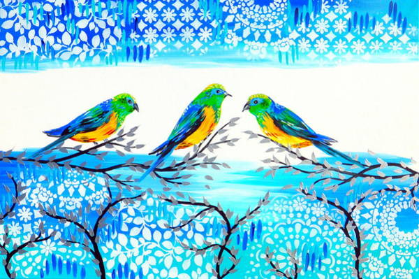 Lovebirds Painting - Family Time by Cathy Jacobs