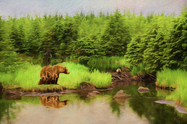 Grizzlies Mixed Media - Family Time by Steven Richardson