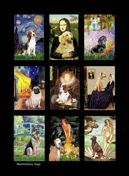 Digital Art - Famous Art Dogs #1 by Jean Batzell Fitzgerald