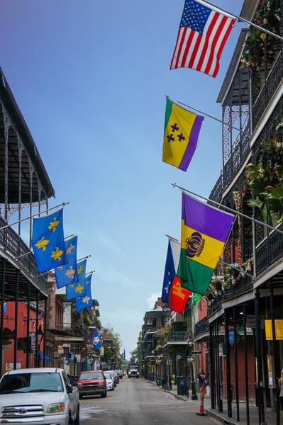 Wall Art - Photograph - Famous Bourbon Street With Flags  by Art Spectrum