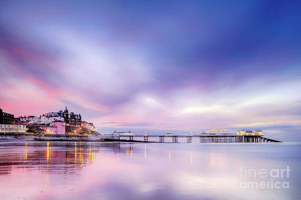 Norfolk Photograph - Famous Cromer Pier In Norfolk England With Pink Sunset by Simon Bratt Photography LRPS