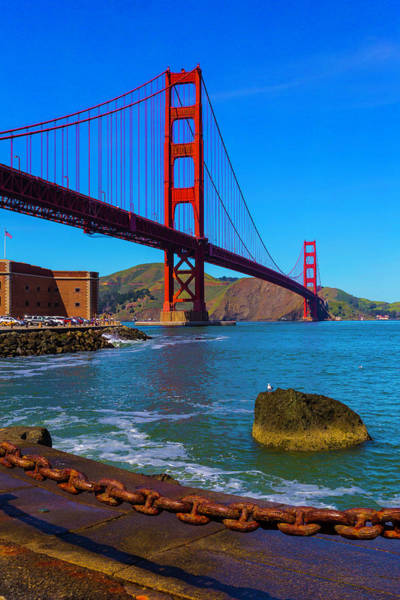 Chain Bridge Photograph - Famous Golden Gate Bridge by Garry Gay